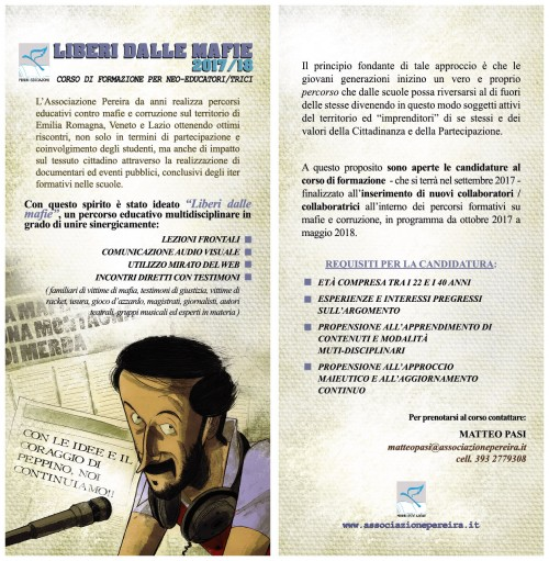 """CORSO DI FORMAZIONE """"LIBERI DALLE MAFIE"""" A SETTEMBRE!"""